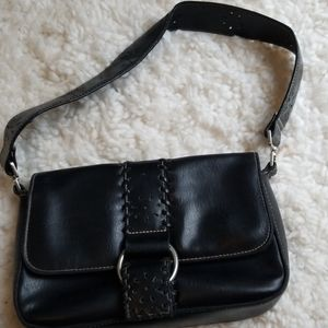 Merona Small Black Faux Leather Shoulder Bag